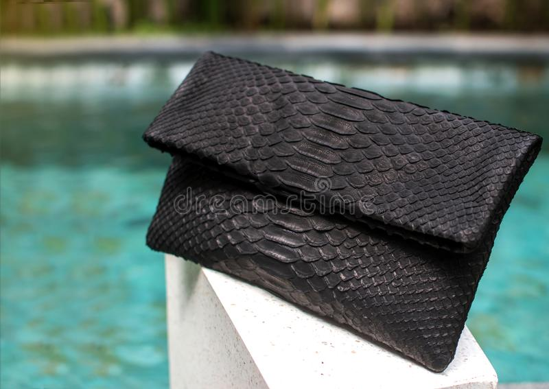 Κλείστε επάνω της μοντέρνης θηλυκής μαύρης τσάντας δέρματος python υπαίθρια Ακριβή θηλυκή τσάντα μοντέρνου και ύφους πολυτέλειας  στοκ φωτογραφία
