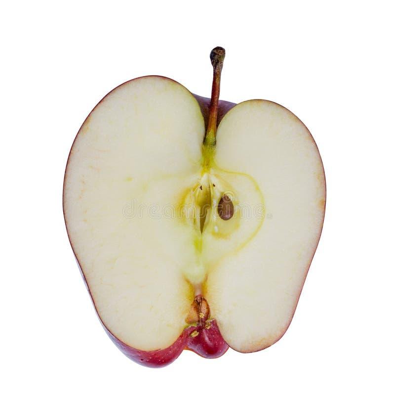 Κλείστε επάνω τη φρέσκια κόκκινη φέτα μήλων που απομονώνεται στο άσπρο υπόβαθρο Το αρχείο περιέχει ένα μονοπάτι ψαλιδίσματος στοκ εικόνες