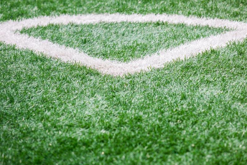 Κλείστε επάνω του αγωνιστικού χώρου ποδοσφαίρου με τη γραμμή και την έννοια χλόης, αθλητισμού και παιχνιδιού στοκ φωτογραφίες