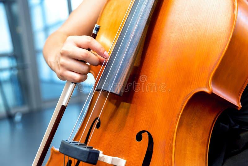 Κλείστε επάνω του βιολοντσέλου με το τόξο στα χέρια στοκ εικόνες