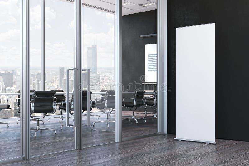 Κλείστε επάνω του κενού άσπρου ρόλου επάνω στο σύγχρονο γραφείο, τρισδιάστατη απόδοση στοκ φωτογραφίες