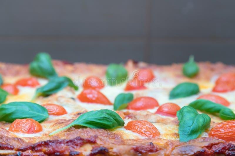 Κλείστε επάνω του πρόσφατα υποστηριγμένου χορτοφάγου lasagna που διακοσμείται με τις ντομάτες, το τυρί και τα χορτάρια στοκ φωτογραφίες με δικαίωμα ελεύθερης χρήσης