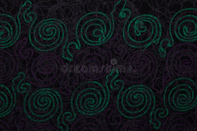 Κλείστε επάνω του σκοτεινού υφάσματος με τα πράσινα και ιώδη σχέδια με το υφαντικό υπόβαθρο σύστασης στοκ εικόνα