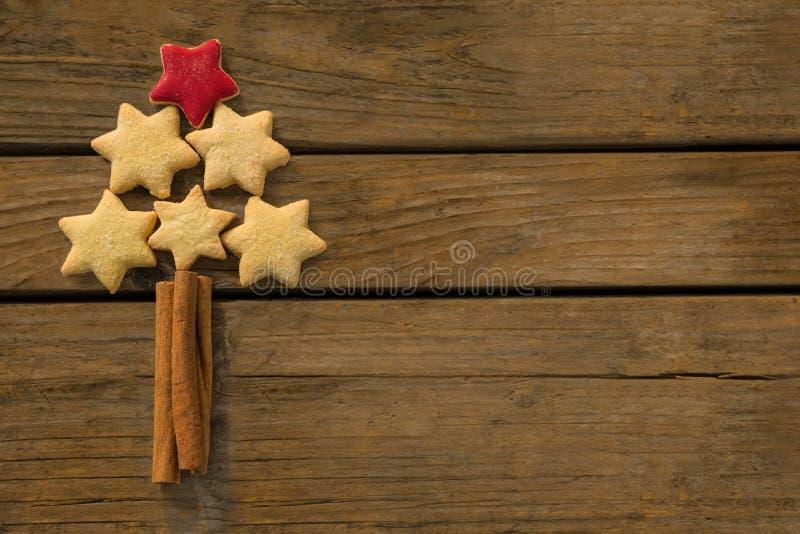 Κλείστε επάνω του χριστουγεννιάτικου δέντρου που γίνεται με τα μπισκότα μορφής αστεριών και τα ραβδιά κανέλας στοκ εικόνα