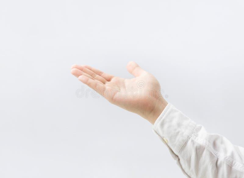Κλείστε επάνω το αρσενικό χέρι παλαμών στο λευκό απομονωμένος στοκ φωτογραφία