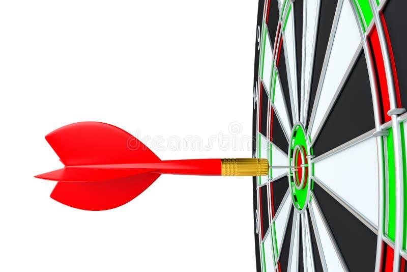 Κλείστε επάνω το κόκκινο βέλος βελών στο κέντρο του dartboard διανυσματική απεικόνιση