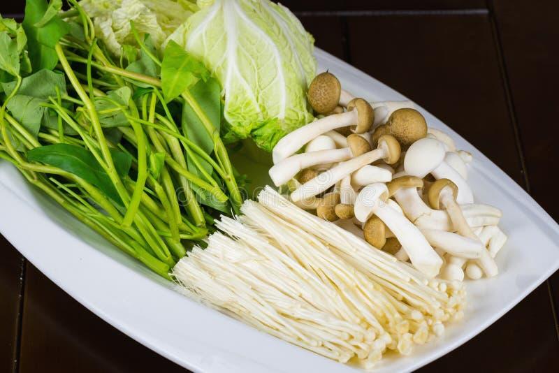 Κλείστε επάνω το λαχανικό για το καυτό δοχείο στο άσπρο πιάτο στοκ φωτογραφία με δικαίωμα ελεύθερης χρήσης