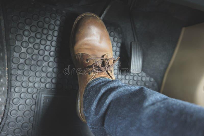 Κλείστε επάνω το πεντάλι παπουτσιών δέρματος ob στοκ φωτογραφίες