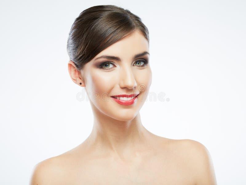 Κλείστε επάνω το πρόσωπο γυναικών που απομονώνεται στο λευκό στοκ εικόνες