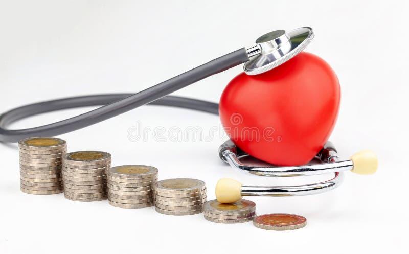 Κλείστε επάνω το σωρό των νομισμάτων, της κόκκινων καρδιάς και του στηθοσκοπίου στο άσπρο υπόβαθρο στοκ εικόνες