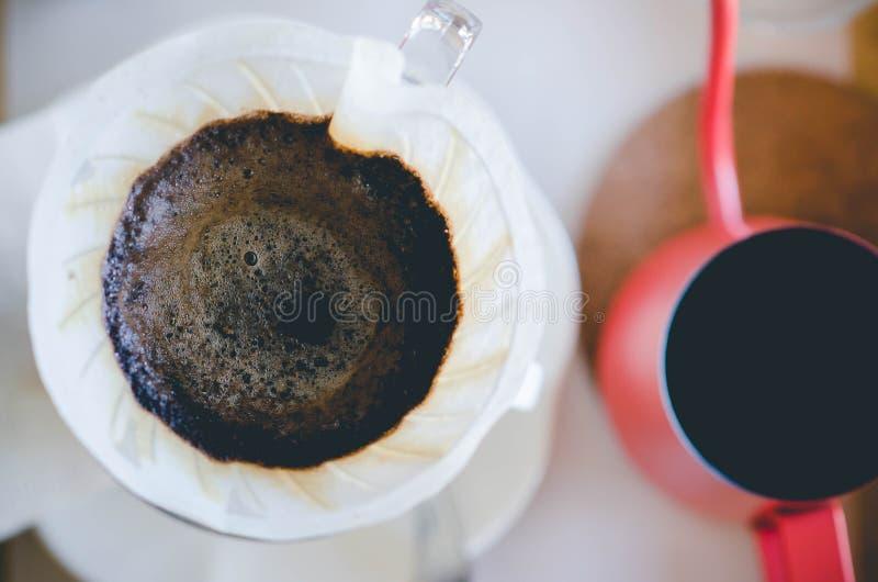 Κλείστε επάνω το τοπ στάλαγμα καφέ viwe Ακόμα φωτογραφία ζωής, εξάρτηση φ στοκ εικόνα με δικαίωμα ελεύθερης χρήσης