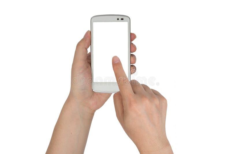 Κλείστε επάνω το smartphone λαβής χεριών που απομονώνεται στοκ φωτογραφία με δικαίωμα ελεύθερης χρήσης