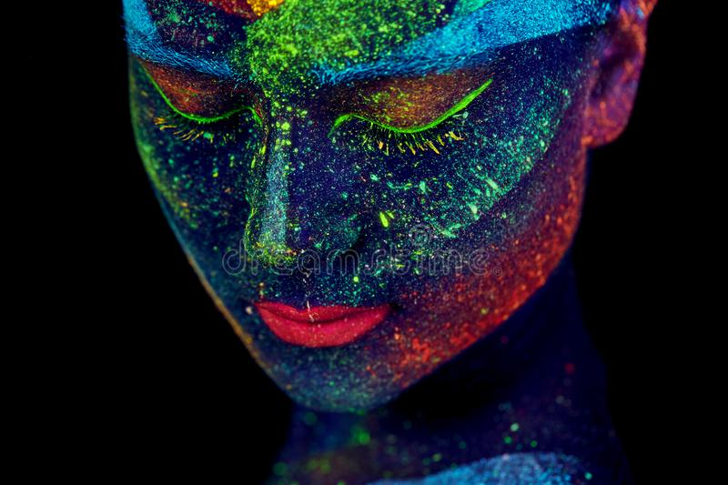 Κλείστε επάνω το UV αφηρημένο πορτρέτο στοκ φωτογραφίες