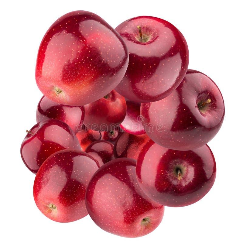 Κλείστε επάνω των κόκκινων μήλων που απομονώνονται σε ένα άσπρο υπόβαθρο στοκ εικόνες
