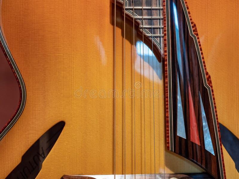 Κλείστε επάνω των τσιμπημάτων σε μια περίκομψη κιθάρα με τα διάφορα σχέδια στο W στοκ φωτογραφίες