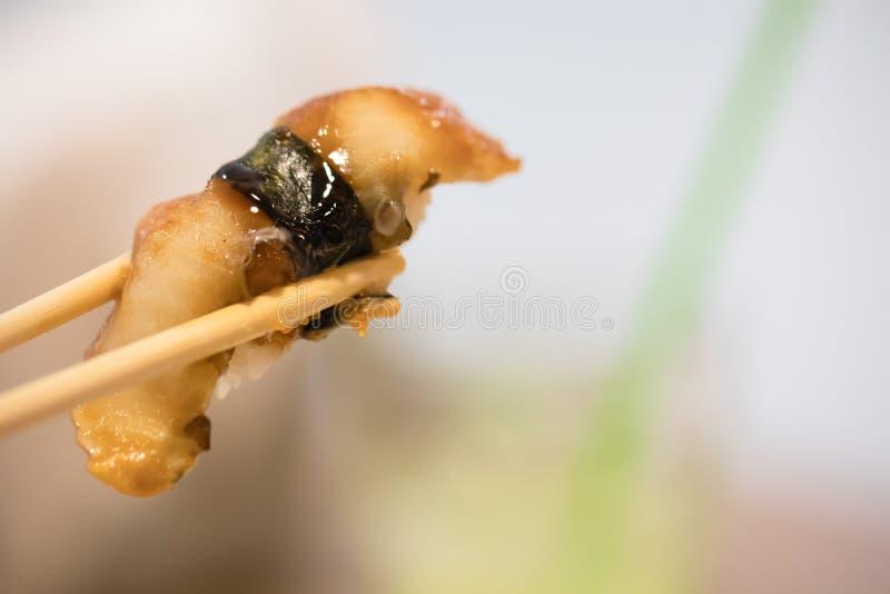 Κλείστε επάνω chopsticks τη λαβή Saltwater σουσιών στα ιαπωνικά τρόφιμα χελιών για υγιή στοκ εικόνα με δικαίωμα ελεύθερης χρήσης