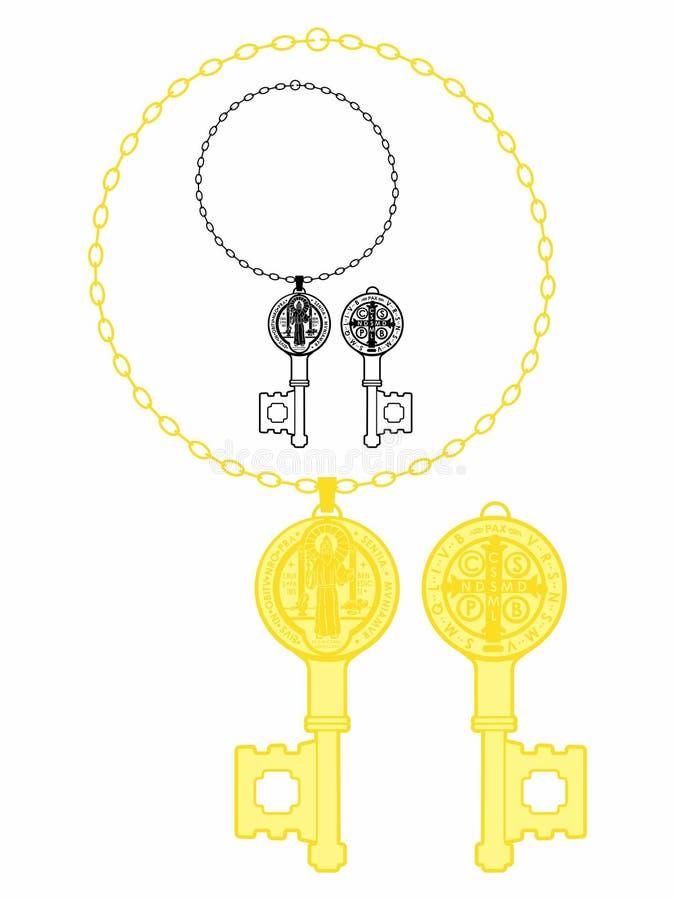 Κλειδί Αγίου Benedict Medal απεικόνιση αποθεμάτων