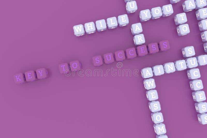 Κλειδί για την επιτυχία, σταυρόλεξο λέξης κλειδιού κινήτρου Για ιστοσελίδας, το γραφικό σχέδιο, τη σύσταση ή το υπόβαθρο r ελεύθερη απεικόνιση δικαιώματος