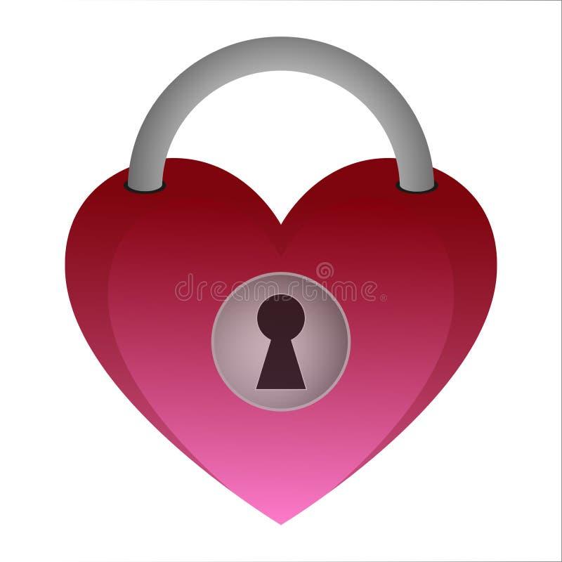Κλειδί κλειδαριών καρδιών αγάπης ελεύθερη απεικόνιση δικαιώματος
