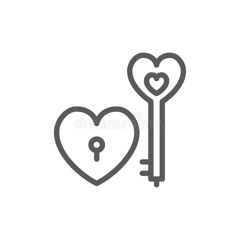 Κλειδί με την κλειδαριά καρδιών, εικονίδιο γραμμών ημέρας βαλεντίνων απεικόνιση αποθεμάτων