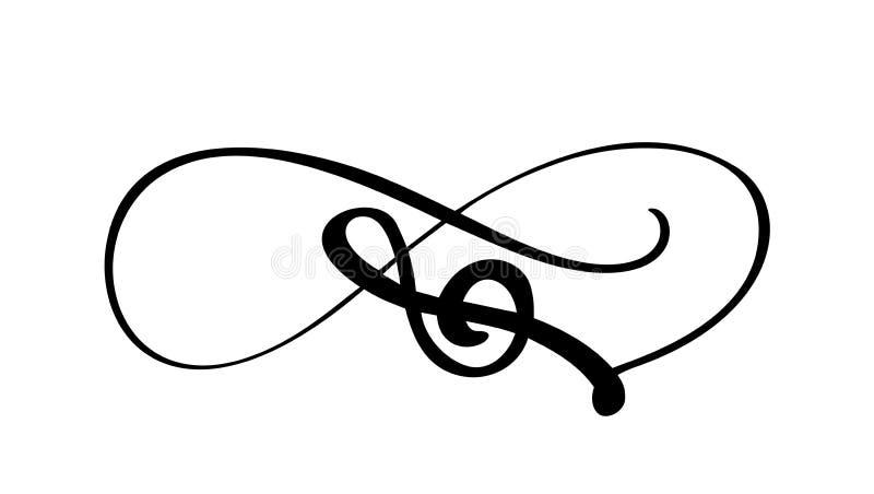 Κλειδί μουσικής και αφηρημένα συρμένα χέρι διανυσματικά λογότυπο και εικονίδιο infiniti Μουσικός ήχος προτύπων σχεδίου θέματος επ διανυσματική απεικόνιση
