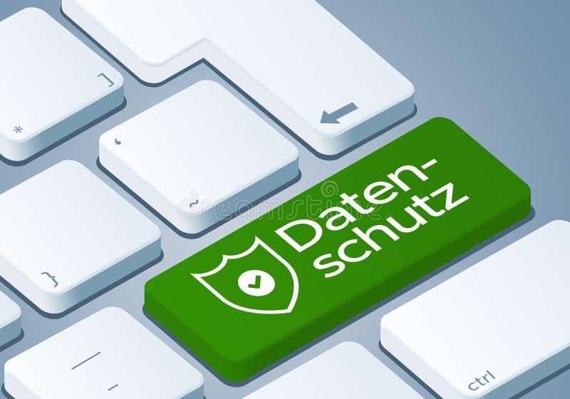 Κλειδί προστασίας δεδομένων - πληκτρολογήστε με την τρισδιάστατη απεικόνιση έννοιας - γερμανικός-μετάφραση: Datenschutz ελεύθερη απεικόνιση δικαιώματος