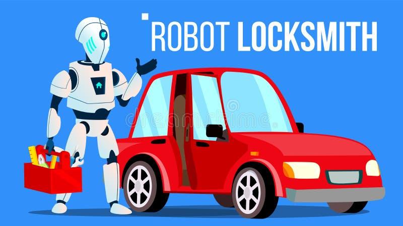 Κλειδαράς ρομπότ που επισκευάζει ένα διάνυσμα αυτοκινήτων απομονωμένη ωθώντας s κουμπιών γυναίκα έναρξης χεριών απεικόνιση διανυσματική απεικόνιση