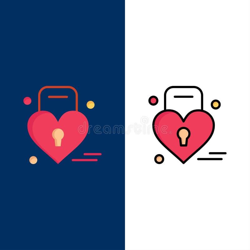 Κλειδαριά, αγάπη, καρδιά, γαμήλια εικονίδια Επίπεδος και γραμμή γέμισε το καθορισμένο διανυσματικό μπλε υπόβαθρο εικονιδίων απεικόνιση αποθεμάτων
