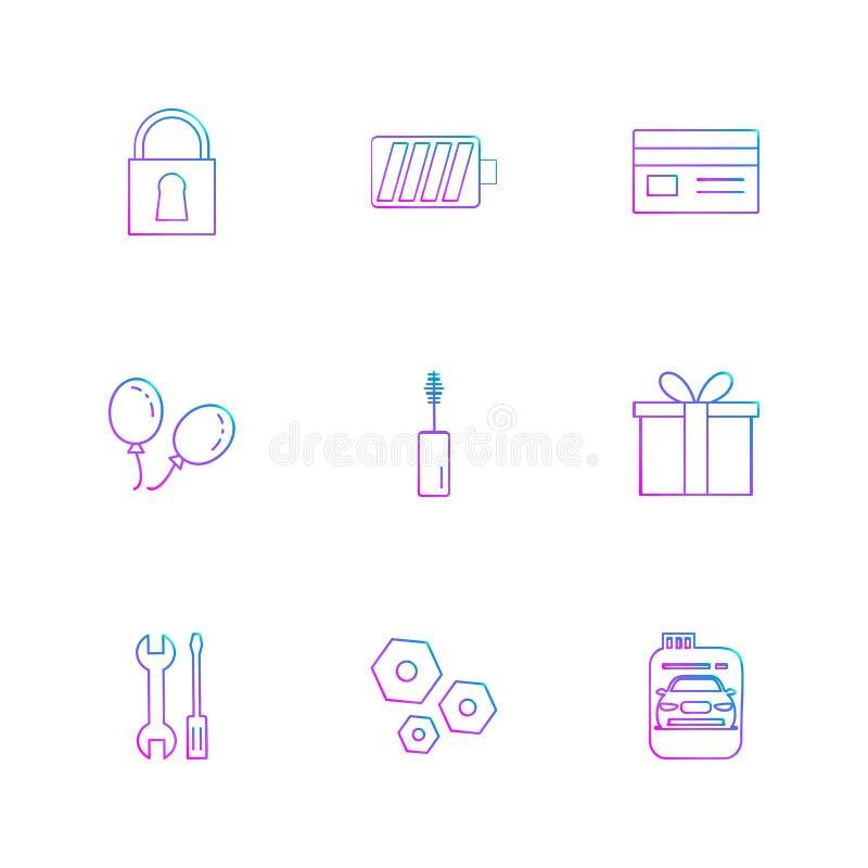 κλειδαριά, μπαταρία, κάρτα, giftbox, αυτοκίνητο, maskara, καρύδι, μπουλόνι, SCR διανυσματική απεικόνιση