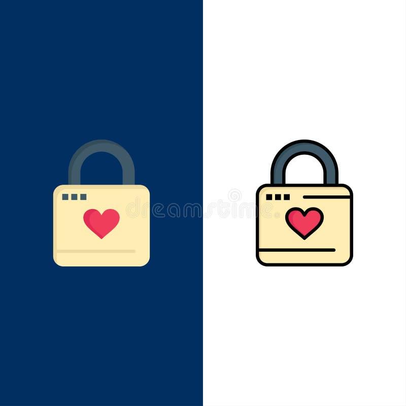 Κλειδαριά, ντουλάπι, καρδιά, χάκερ καρδιών, εικονίδια κλειδαριών καρδιών Επίπεδος και γραμμή γέμισε το καθορισμένο διανυσματικό μ ελεύθερη απεικόνιση δικαιώματος