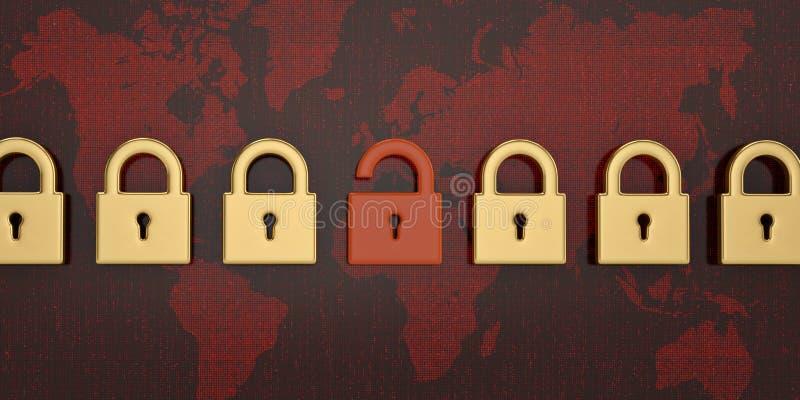 Κλειδαριά στο κόκκινο υπόβαθρο παγκόσμιων ψηφιακό χαρτών τρισδιάστατη απεικόνιση διανυσματική απεικόνιση