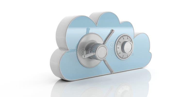 Κλειδαριά συνδυασμού υπολογιστών στοιχείων σύννεφων ασφαλής, απομονωμένος, κυανός σε ένα άσπρο υπόβαθρο τρισδιάστατη απεικόνιση ελεύθερη απεικόνιση δικαιώματος