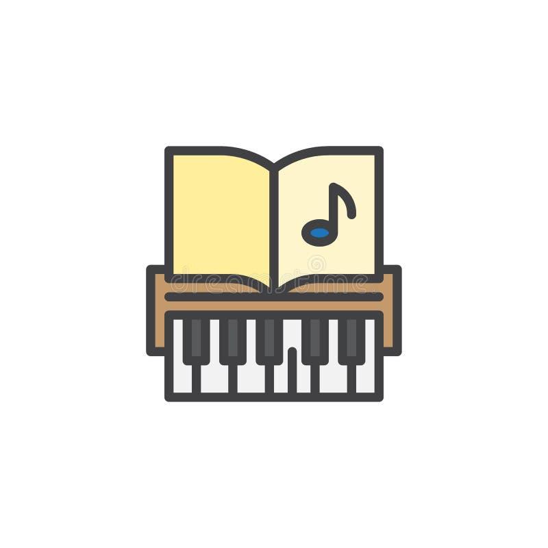 Κλειδιά πιάνων και γεμισμένο εικονίδιο περιλήψεων μουσικής σημειώσεις διανυσματική απεικόνιση
