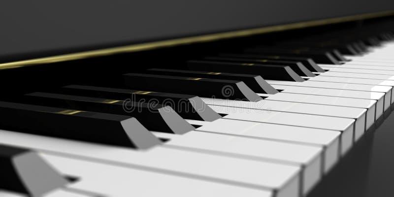 Κλειδιά πιάνων στο μαύρο πιάνο τρισδιάστατη απεικόνιση διανυσματική απεικόνιση