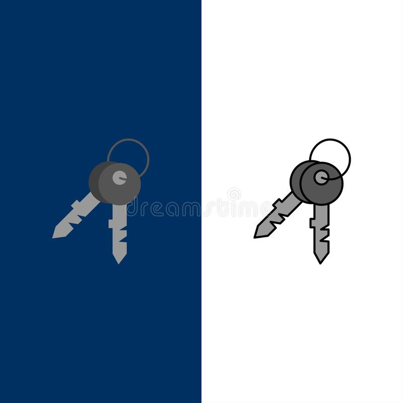Κλειδιά, πόρτα, σπίτι, εγχώρια εικονίδια Επίπεδος και γραμμή γέμισε το καθορισμένο διανυσματικό μπλε υπόβαθρο εικονιδίων διανυσματική απεικόνιση