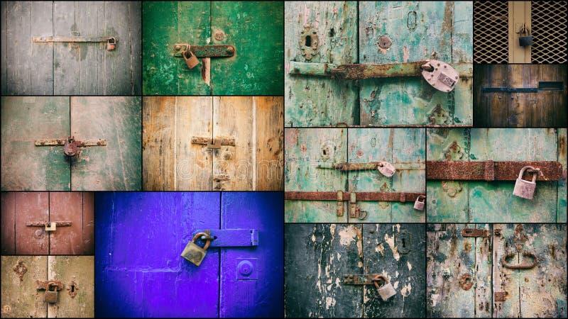 Κλειδωμένες πόρτες με το κολάζ λουκέτων Κλειστά παλαιά σκουριασμένα λουκέτα στις ξεπερασμένες ξύλινες πόρτες στοκ φωτογραφία