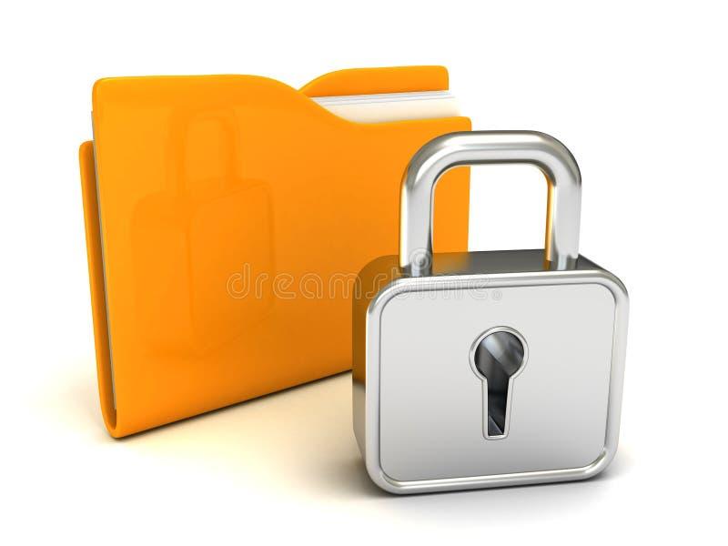 Κλειδωμένη κίτρινη γραμματοθήκη με το κλειστό λουκέτο στο λευκό διανυσματική απεικόνιση