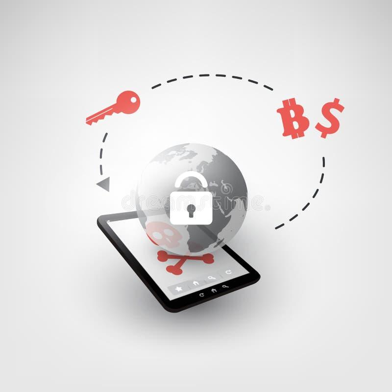 Κλειδωμένη συσκευή, κρυπτογραφημένα αρχεία, χαμένα έγγραφα, σφαιρική επίθεση Ransomware - μόλυνση ιών, Malware, απάτη, Spam, Phis απεικόνιση αποθεμάτων