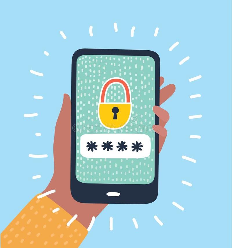 Κλειδωμένος τηλέφωνο τομέας κωδικού πρόσβασης κουμπιών ανακοίνωσης διανυσματική απεικόνιση