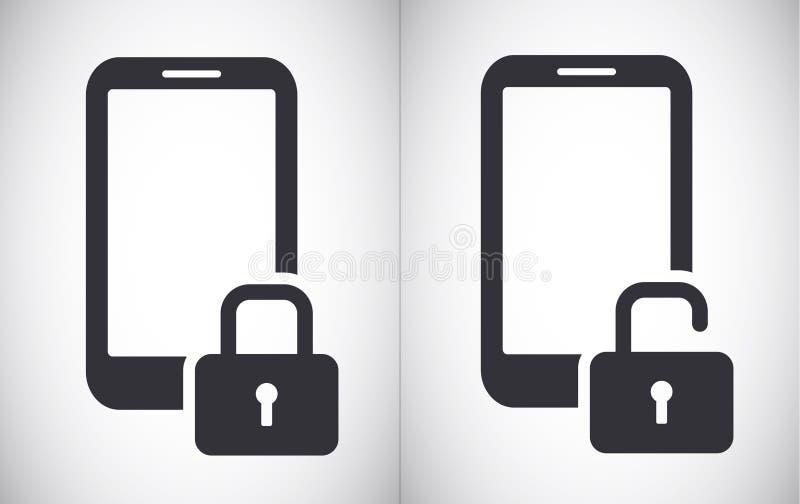 Κλειδωμένο και ξεκλειδωμένο smartphone ταμπλετών σύμβολο εικονιδίων ασφάλειας διανυσματικό διανυσματική απεικόνιση