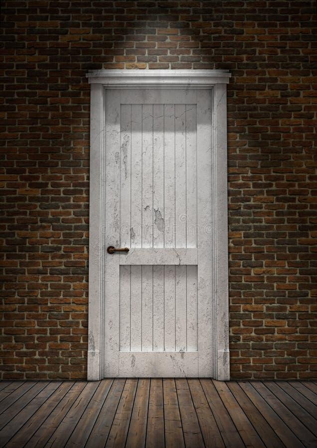 Κλειστή άσπρη εκλεκτής ποιότητας πόρτα στο τουβλότοιχο τρισδιάστατη απόδοση ελεύθερη απεικόνιση δικαιώματος