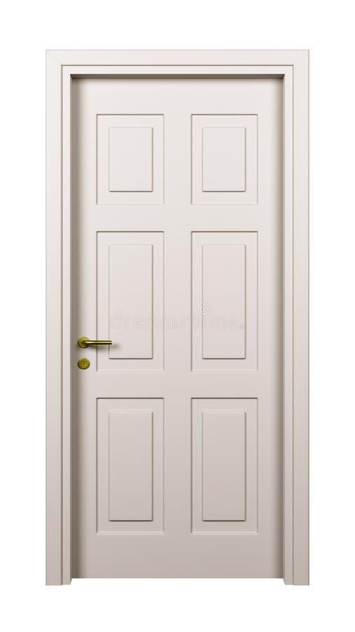 Κλειστή άσπρη πόρτα που απομονώνεται απεικόνιση αποθεμάτων