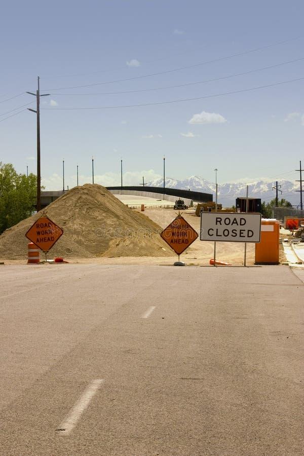 κλειστή περιοχή οδικών σημαδιών κατασκευής στοκ φωτογραφίες με δικαίωμα ελεύθερης χρήσης