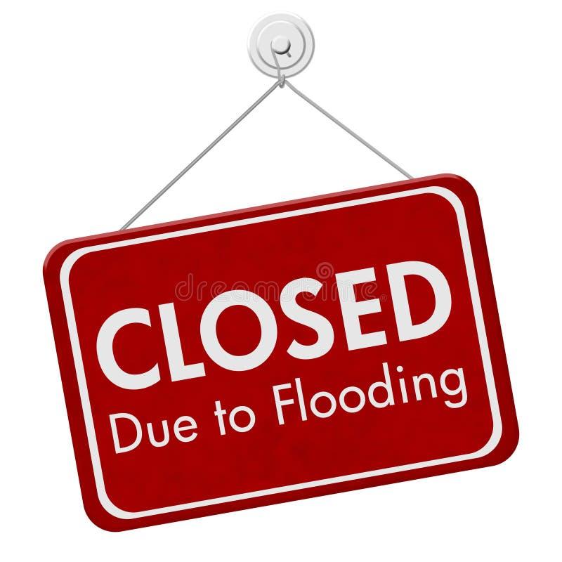 Κλειστός λόγω της πλημμύρας του σημαδιού στοκ εικόνα με δικαίωμα ελεύθερης χρήσης