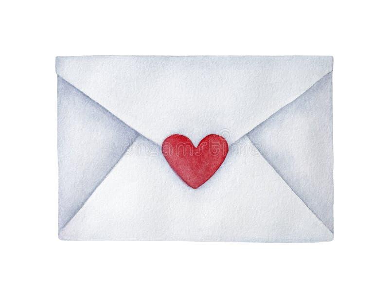 Κλειστός ταχυδρομικός φάκελος με τη μικρή διαμορφωμένη καρδιά αυτοκόλλητη ετικέττα ελεύθερη απεικόνιση δικαιώματος