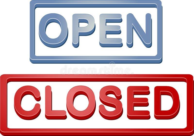 κλειστό ανοικτό σημάδι κα& διανυσματική απεικόνιση