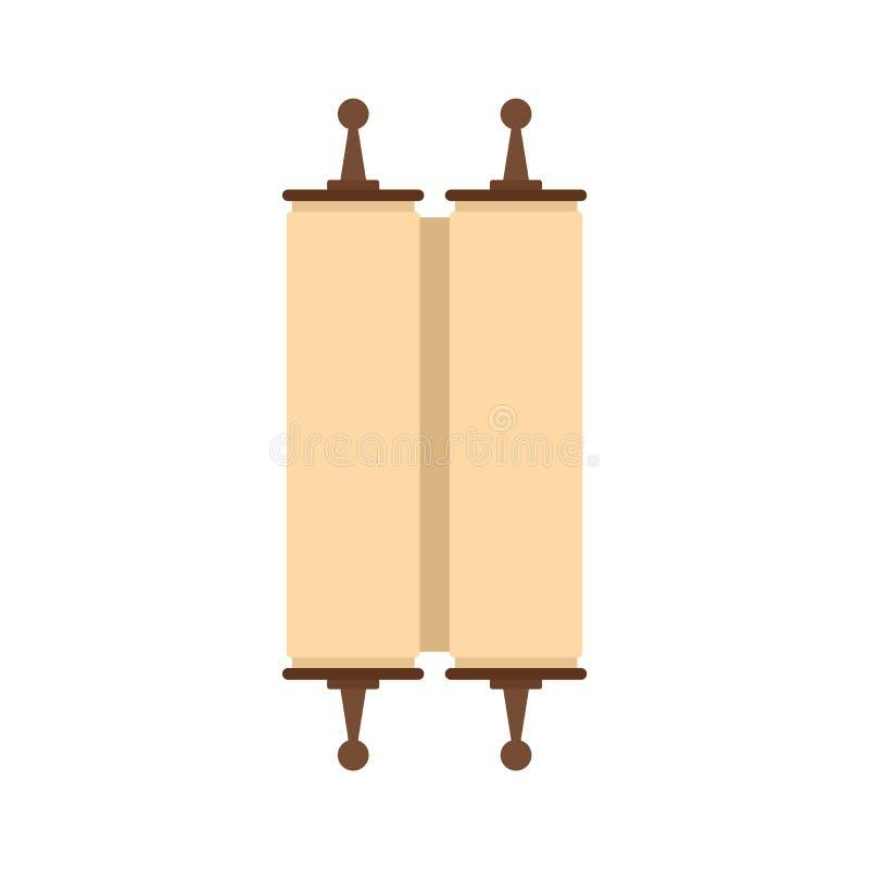 Κλειστό αρχαίο κυλημένο εικονίδιο παπύρων, επίπεδο ύφος απεικόνιση αποθεμάτων