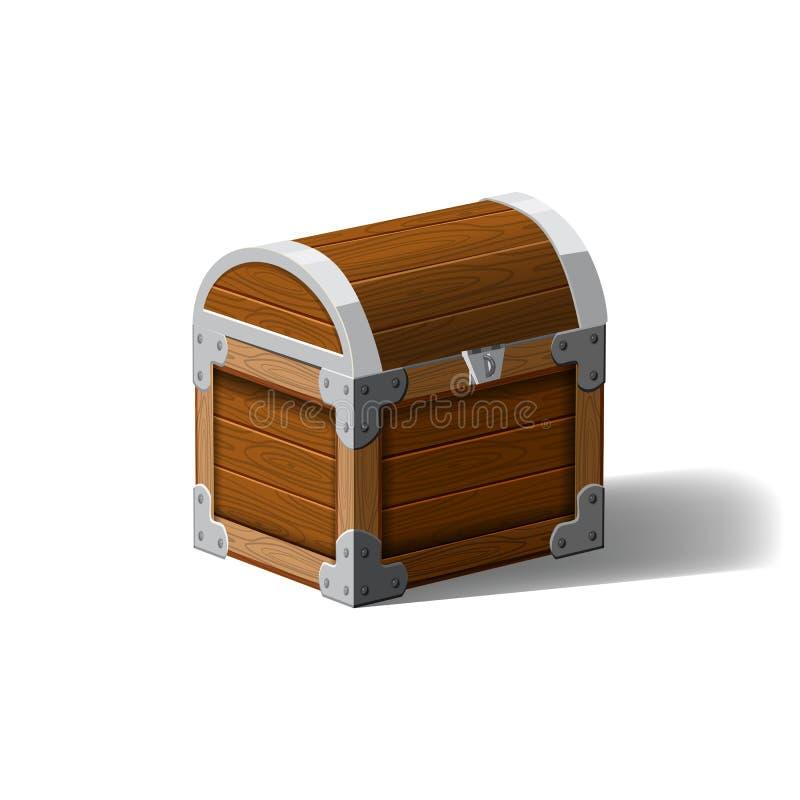 Κλειστό θωρακικό ξύλινο κιβώτιο πειρατών Σύμβολο των πλούτων πλούτου Επίπεδο διανυσματικό σχέδιο κινούμενων σχεδίων για τη διεπαφ διανυσματική απεικόνιση