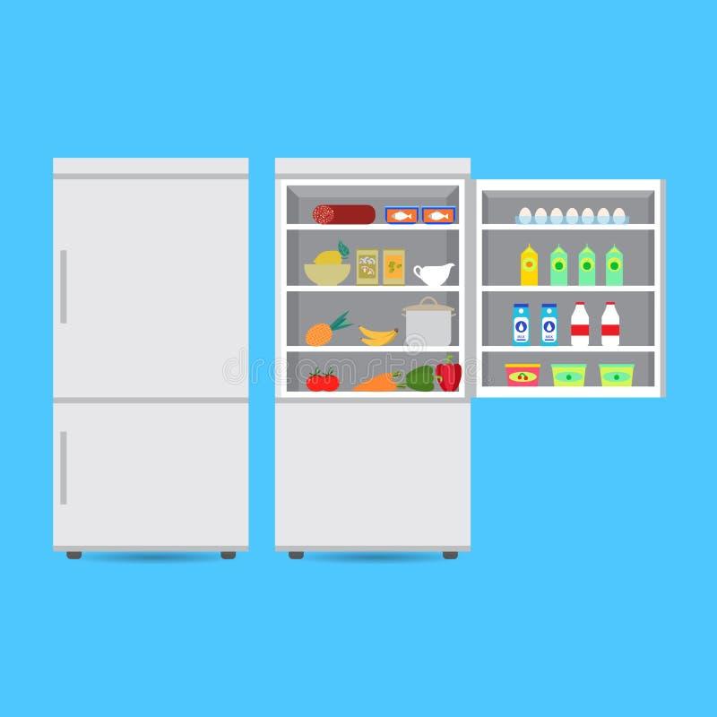 Κλειστό και ανοιγμένο ψυγείο με τα τρόφιμα ελεύθερη απεικόνιση δικαιώματος