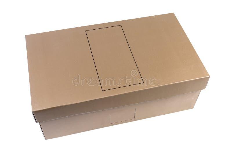 Κλειστό κιβώτιο παπουτσιών χαρτονιού σε ένα άσπρο υπόβαθρο στοκ φωτογραφίες με δικαίωμα ελεύθερης χρήσης